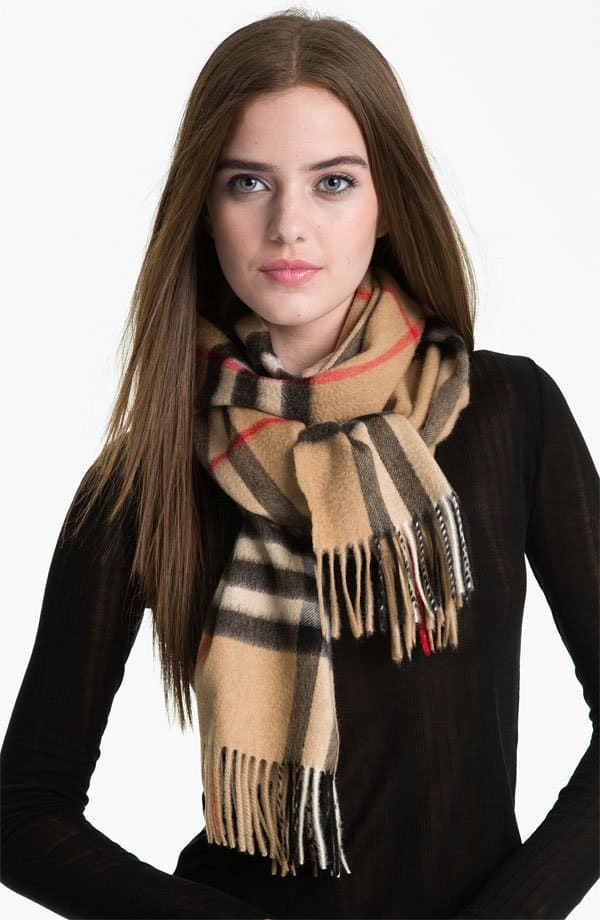 burberry giant check print fringe scarf cashmere muffer