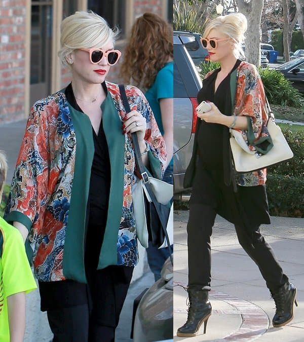 Gwen Stefani rocks a kimono as she runs errands with her family in Beverly Hills, California on December 27, 2013