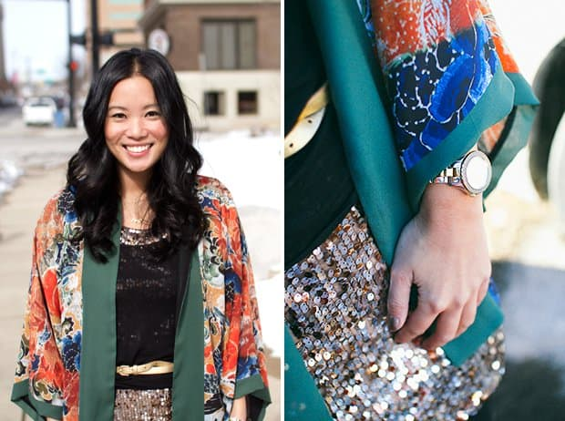 Kelly Purkey fashions the Zara printed kimono with a sequined skirt