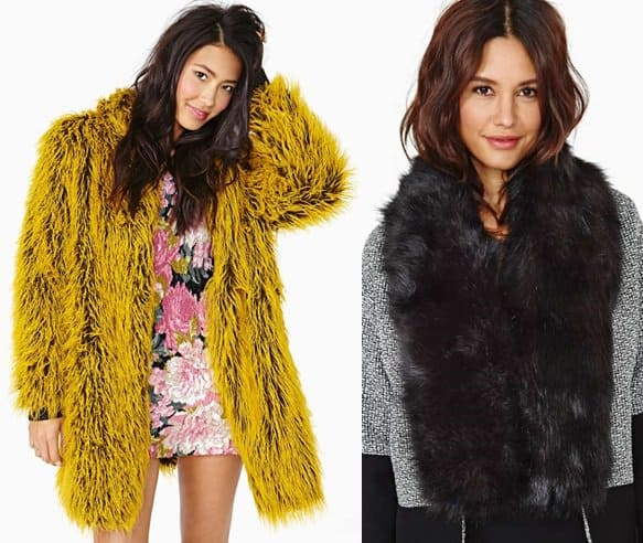 nastygal bitching junkfood nicolette fuax fur yellow jacket hat attack minx faux fur scarf