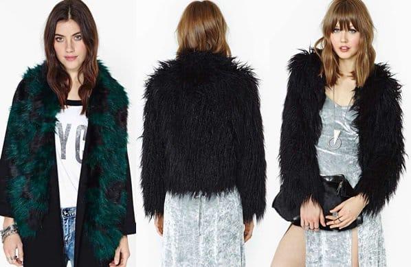 nastygal fur scarf and jacket