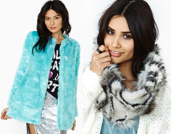 nastygal nomad faux fur scarf candy flip coat