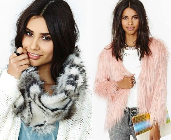 nastygal nomad faux fur scarf fairy floss jacket