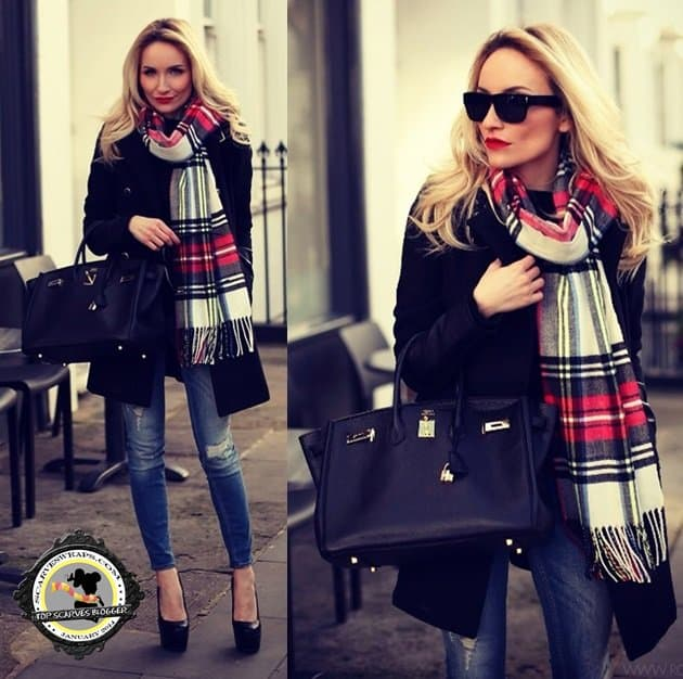 Silvia uses a plaid Topshop scarf as her statement accessory