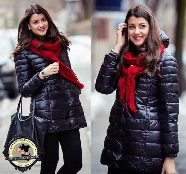 Julie styles a red scarf with a black puffer jacket