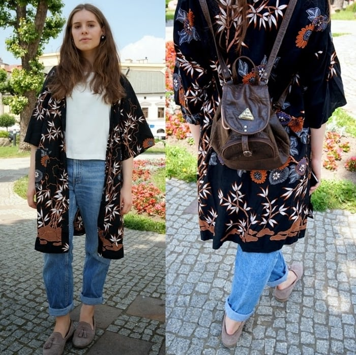 Claudia shows how to style a printed kimono over slouchy boyfriend jeans