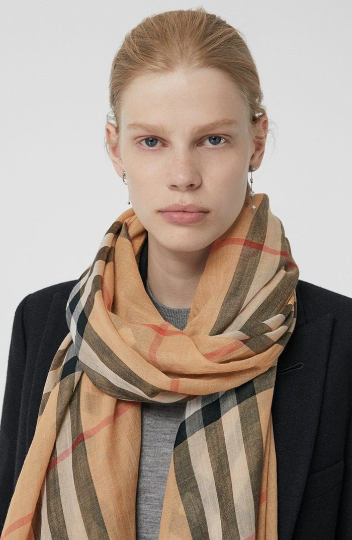 An Italian-made check wool and silk scarf in a lightweight gauze weave