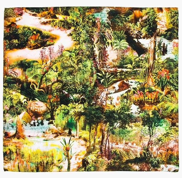 carven green brown silk jungle print scarf