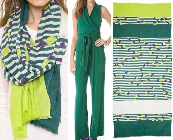 catherine malandrino jumpsuit and yarnz oranges scarf