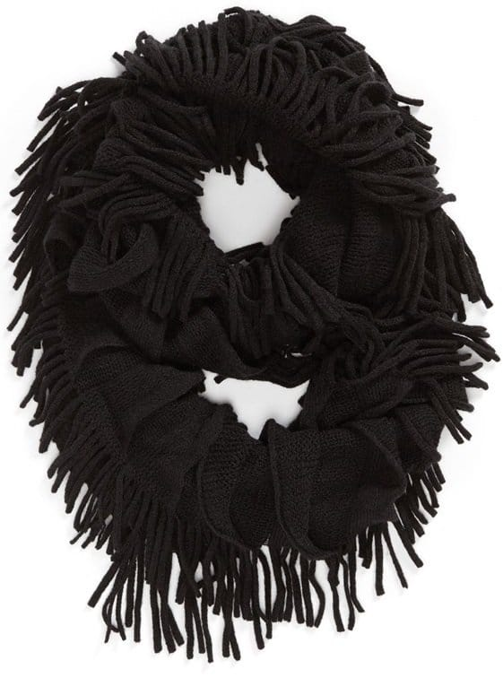 david and young fringe infinity scarf black