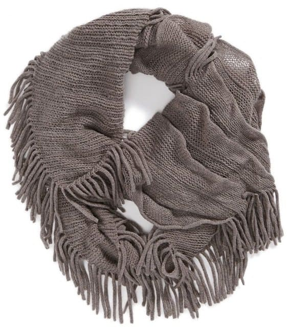 david and young fringe infinity scarf gray