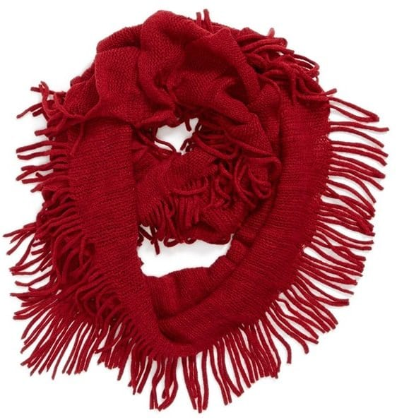 david and young fringe infinity scarf red