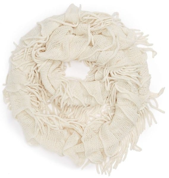 david and young fringe infinity scarf white