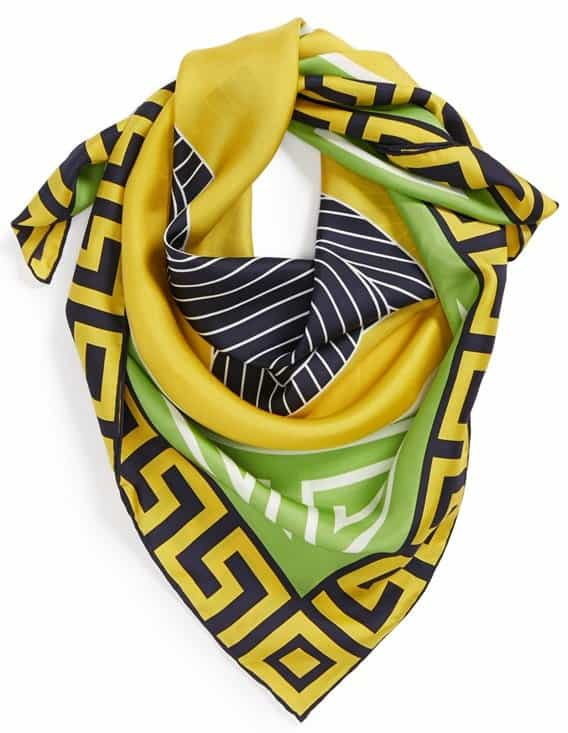 An oversized avian graphic amplifies the signature style of a square silk scarf trimmed with a deco-inspired border