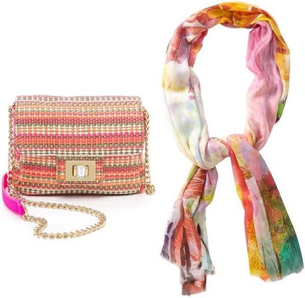 tolani digital neon trim scarf