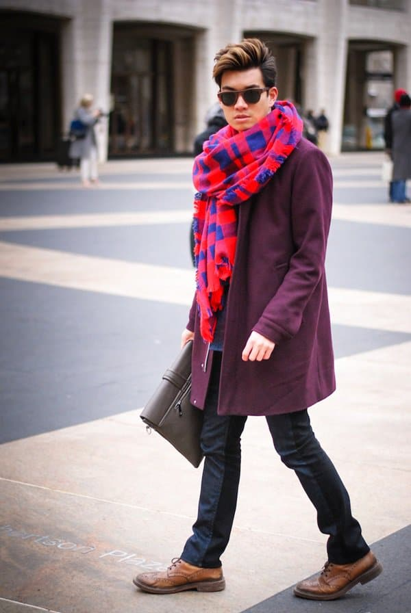 alexander liang nyfw checkered scarf style