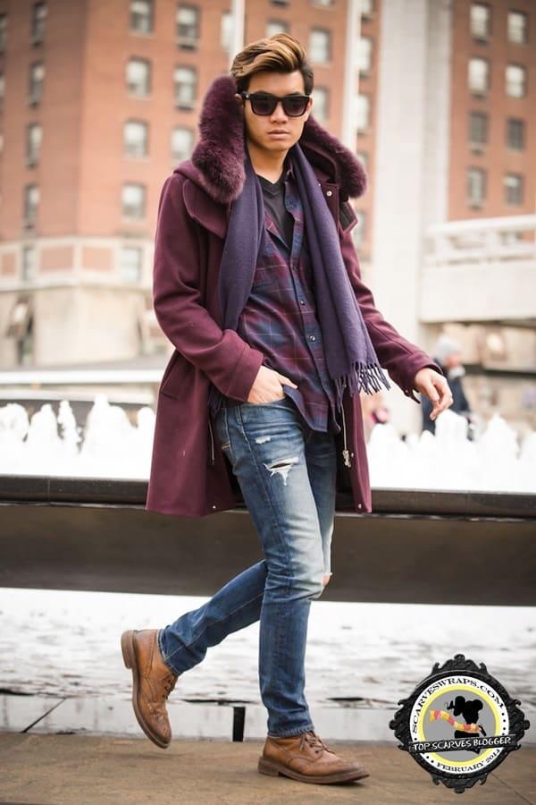 alexander liang nyfw purple scarf style