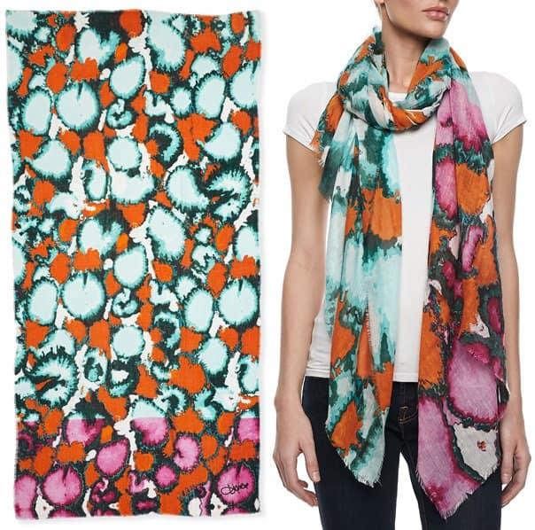 diane von furstenberg hanover ink leopard scarf orange green multi 2-horz
