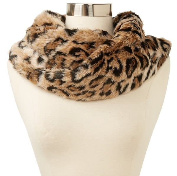 Juicy Couture Leopard Print Faux Fur Infinity Scarf