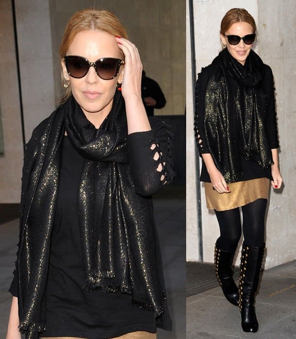 Kylie Minogue leaves the Radio 1 Studios in London while decked in gold-detailed boots and a black shimmery scarf on March 18, 2014