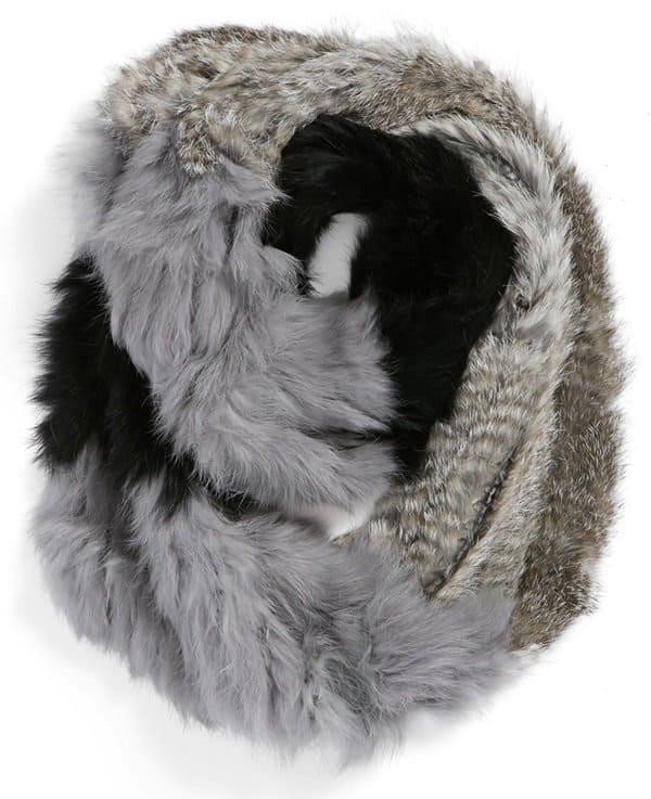 la fiorentina genuine rabbit fur infinity scarf