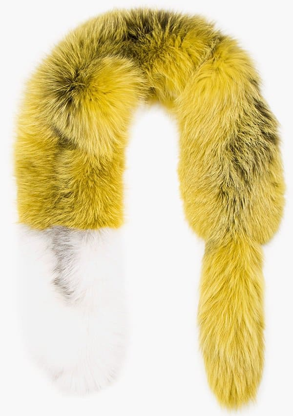 marni yellow frost fox fur stole