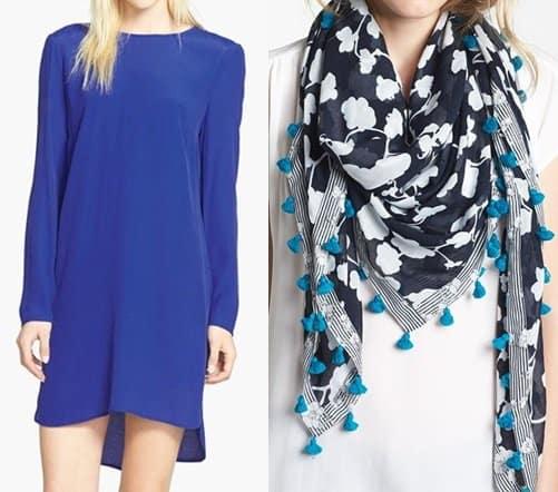dvf busby scarf and wayf dress