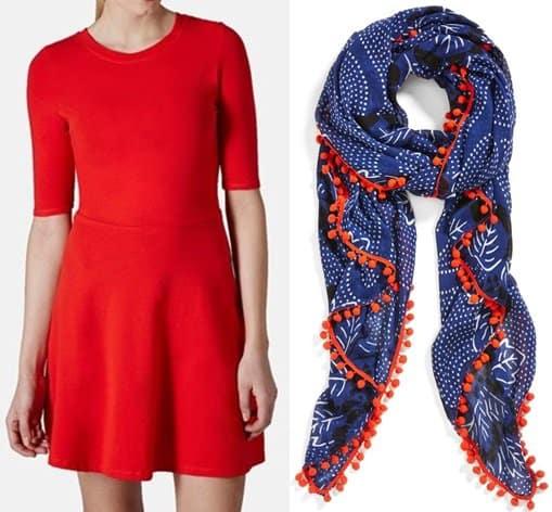 topshop red dress halogen ink floral scarf