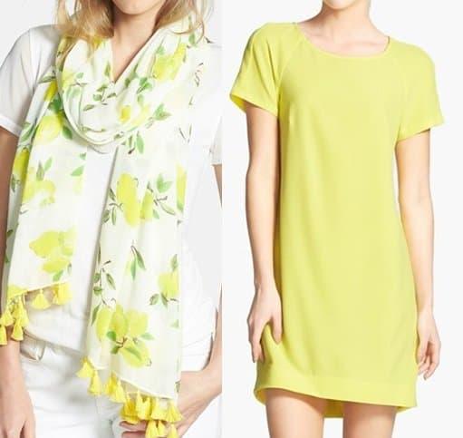 wayf crepe dress kate spade illustrated lemon scarf