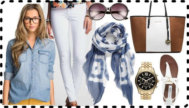 Denim Outfit Scarf Style