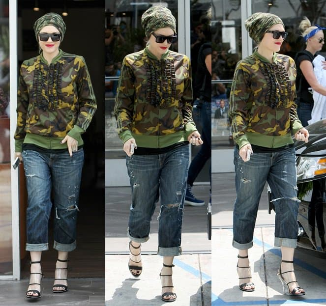 Gwen Stefani wears a camo jacket and a matching beanie while exiting a nail salon in West Hollywood on April 25, 2014