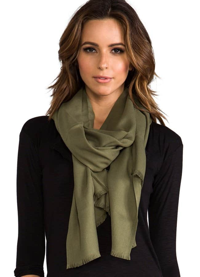 Love Quotes Eyelash Trim Rayon Scarf in Loden