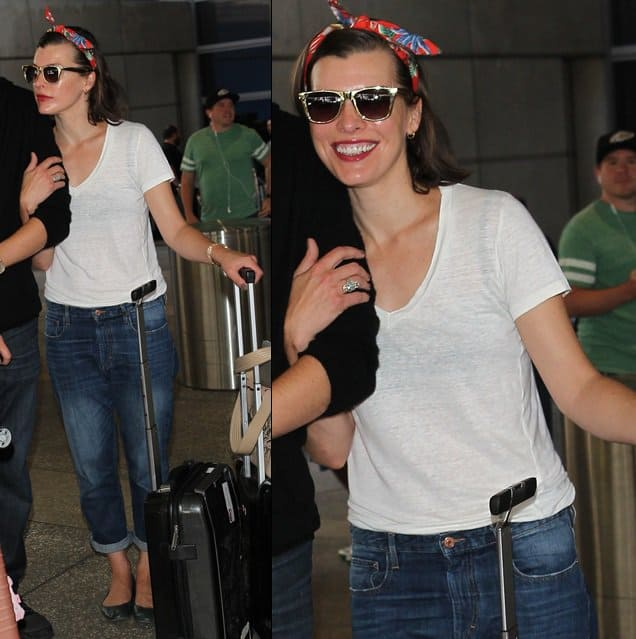 Milla Jovovich kept her look cute and interesting by tying a colorful scarf around her head