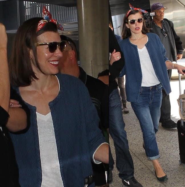 Milla Jovovich looks comfy and cute as she arrives at LAX on May 28, 2014