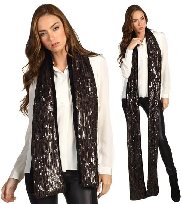 Rachel Zoe Sequined Signature Long Scarf