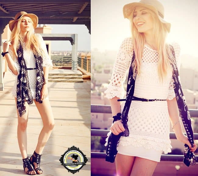 Fashion photographer Lina Tesch, a.k.a., Anila, styles her white crochet dress with a skull scarf