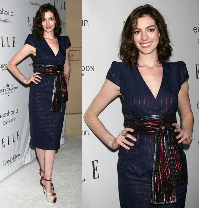 Anne Hathaway attends the Elle Women in Hollywood Event held at the Four Seasons Hotel in Los Angeles, October 6, 2008
