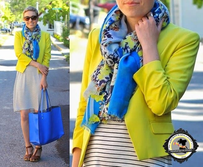 Maren Elizabeth of Bureau adds a pop of print to her summer ensemble by using a printed scarf that matches her jacket