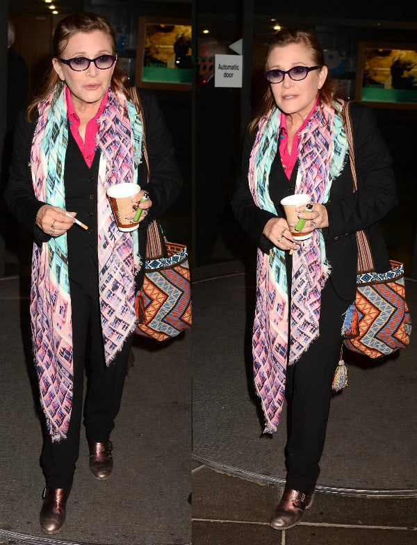 Carrie Fisher in colorful scarf