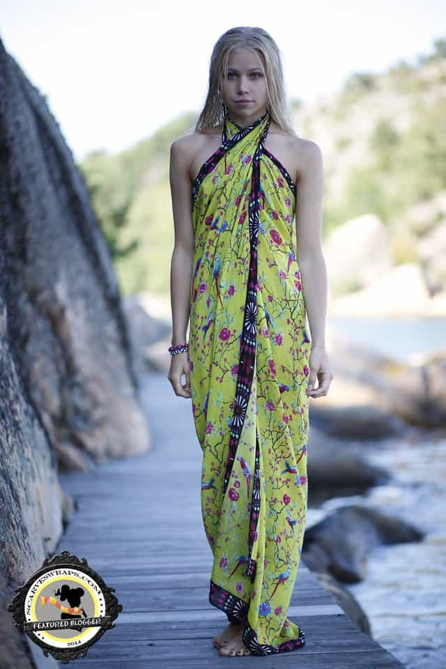 Felicia Eriksson wears her oversized scarf as a halter dress for a beach outing
