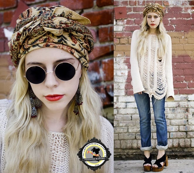 Madeline keeps her look boho and funky with chunky sandals and a printed headwrap