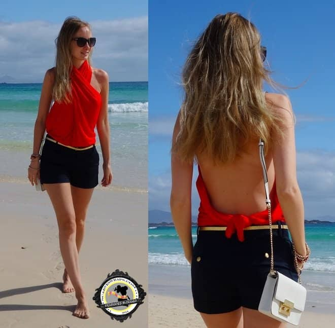 Sandra wears her red scarf as halter top to the beach