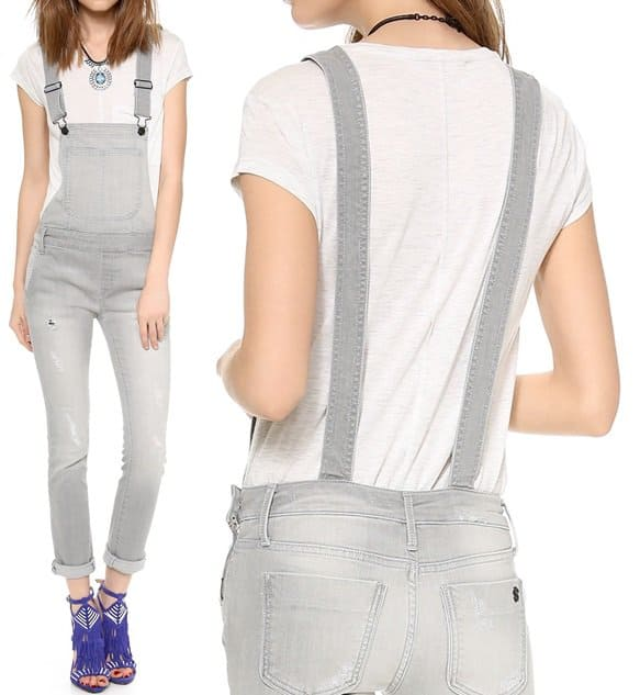 one by black orchid denim skinny overalls in cashmere-horz
