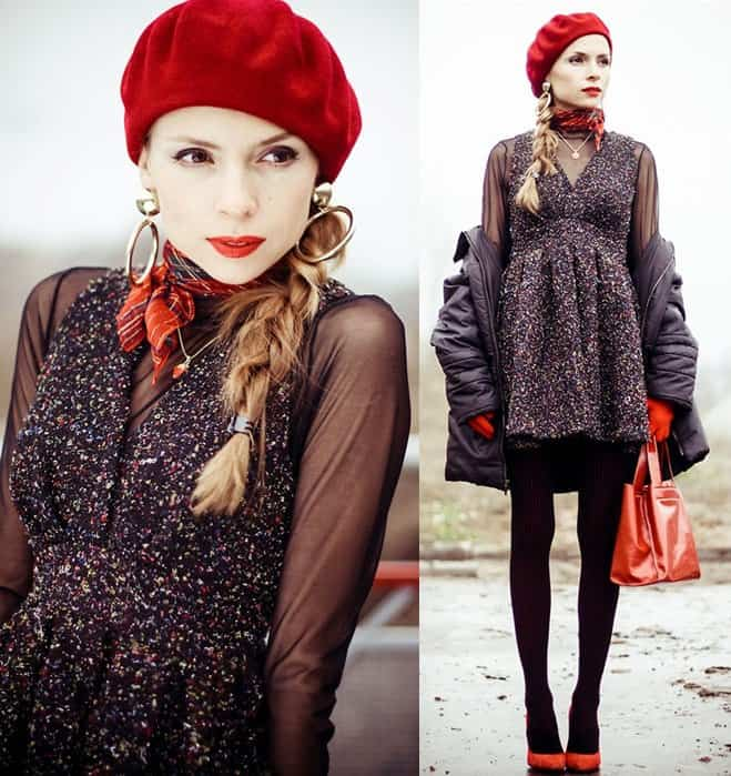 Tanya of Tini-Tani styles her textured dress with a red neckerchief