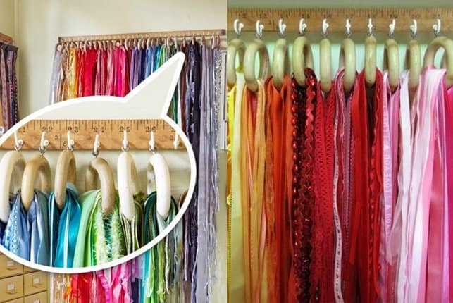 This one's a shabby chic and clever way to store your scarves and ribbons