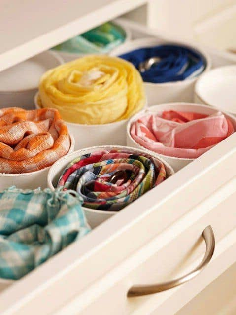"Create a ""hanging"" scarf organizer using the round gift boxes instead"