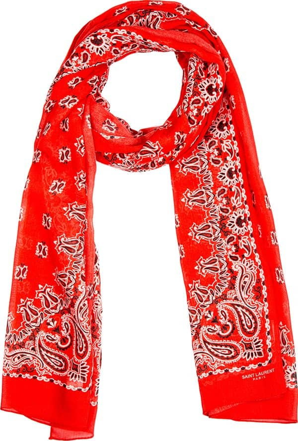 saint laurent paisley print red cashmere scarf