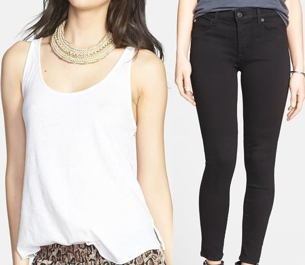 Leith Split Side Tank and Hudson Nico Mid Rise Skinny Jeans