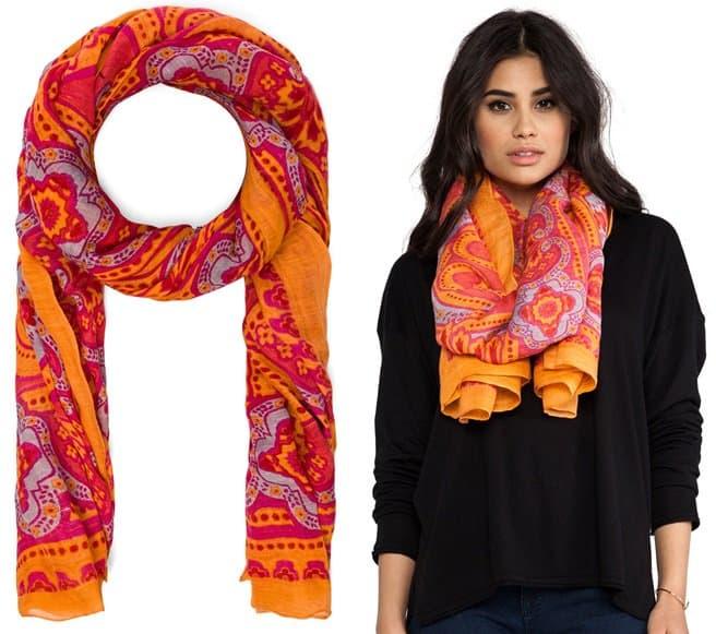 theodora callum bangalore scarf in coral 2-horz