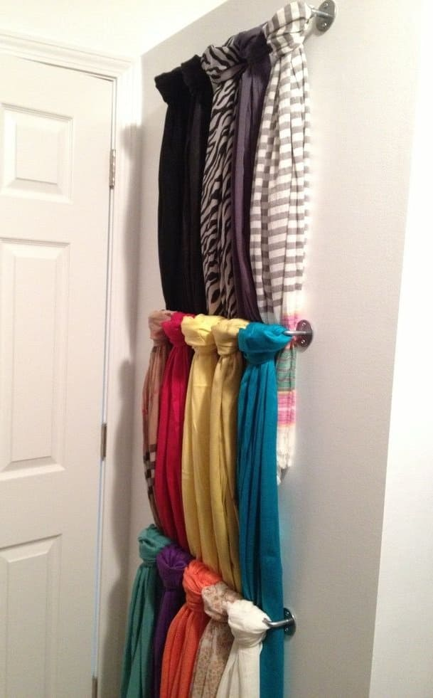 If you have a wall at home that's not being used, occupy it with your scarves